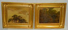 Pair of Oil on Board Landscapes in Gilt Frames