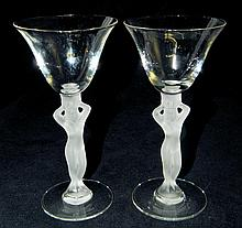 Pair of Figural Wine Glasses