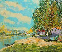 Oil on Canvas Village Lake Scene