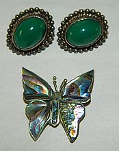 Grouping of Sterling Earrings and Butterfly Pin