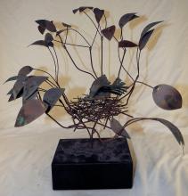 Curtis Jere Metal Sculpture Of Bird & Nest In Tree