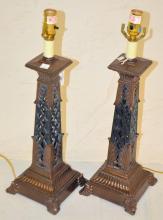 Pair Of Metal Table Lamps