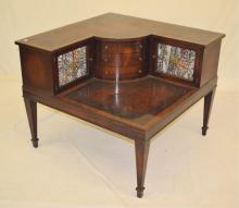 Inlaid Mahogany Corner Table, R. & J. Arnold