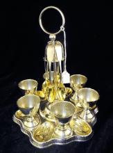 Silver Plate Egg Cup Set