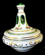 Green & White Case Glass Hand Painted Jar