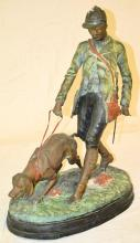 Painted Bronze Sculpture Of Man And Dog