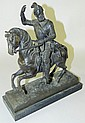Bronze statue of knight on horse