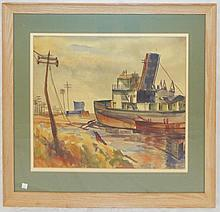 Dock Scene Watercolor Signed Whitsitt