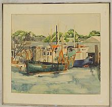 Dock Scene Watercolor Signed Claire Marcus