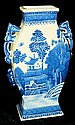 Oriental blue scenic double handled vase