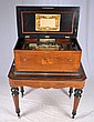 Rosewood inlaid Swiss music box with instruments