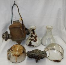 Victorian Angle Mfg. Co. Double Hanging Oil Lamp