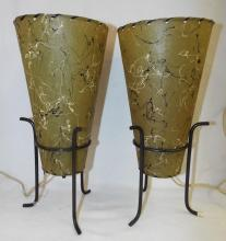 Pair Of Design Lamps With Parchment Shades