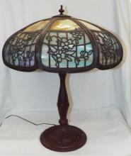 Slag Glass Parlor Lamp With Bronze Base