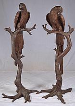 Pair of 5 1/2 ' bronze sculptures of parrots