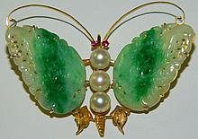 14 kt. gold and jade butterfly pin