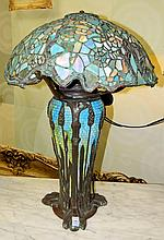 Leaded Glass Lamp on Glass and Bronze Base