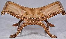 Inlaid vanity bench