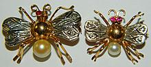 18 kt. gold, ruby, diamond & pearl butterfly pins