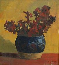 E. Quaade oil on board still life of flower vase