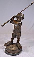 Jim Davidson bronze sculpture of boy golfing