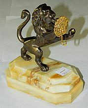 Bronze lion on marble base pocket watch holder