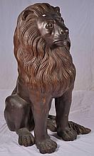 Pair of large 4 foot bronze lion sculptures