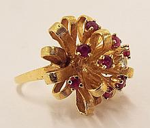 14k Gold Ring With Diamond And Rubies