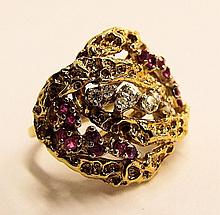 14k Gold Ring With Rubies And Diamonds