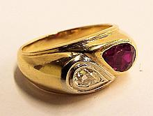 14k Gold Ring With Ruby And Clear Stone