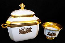 White Porcelain & Gilt Pot And Cup