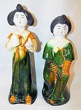 Pair Of Oriental Glazed Pottery Figurines