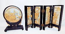 Oriental Cork Scenic Carvings In Display Stands