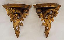 Pair Of Carved & Gilt Decorated Shelves