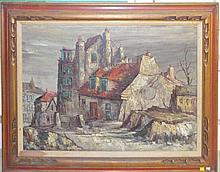 Oil On Canvas City Scene