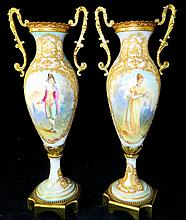 Pair of Hand Painted Serves Porcelain Urns