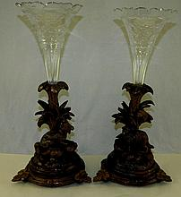 Pair of Cut Glass Vases in Black Forest Bases