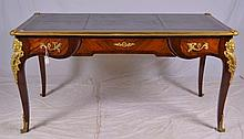 French Tooled Leather Top Bureau Plat