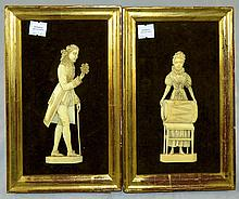 Pair of Ivory Carved Figural Plaques