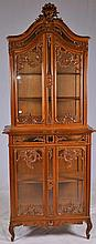 Carved Display Cabinet with Glass Doors