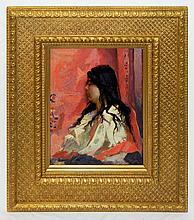 Emile Pinchart Oil on Canvas Portrait of Woman