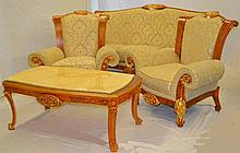 Rho Marquetry Inlaid Four Piece Parlor Set