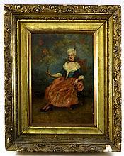 Artist Signed Oil on Board Portrait of Woman