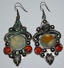 Sterling silver and hard stone earrings