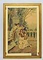 Pietro Gabrini water color, Victorian Scene
