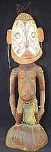 Tribal Carved Decorated Figure with Shell Eyes
