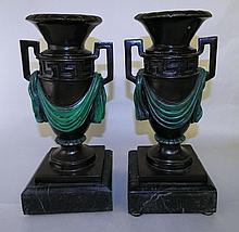 Pair of Decorated Urns Signed A. Moreau