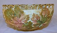Royal Worcester Leaf Design Bowl with Openwork Rim