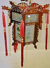 Oriental Lantern with Hand Painted Glass Panels
