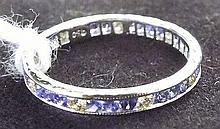 Platinum Ring with Diamonds and Blue Stones